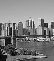 Фотообои флизелиновые 3D город Нью-Йорк 225х250 см черно-белый Манхэттен  (MS-3-0010)