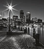 Фотообои флизелиновые 3D город 225х250 см улица Бостона (MS-3-0016)