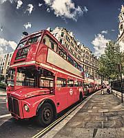 Фотообои флизелиновые 3D город Лондон 225х250 см Двухэтажный автобус  (MS-3-0017)