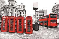 Фотообои флизелиновые 3D город Лондон 375х250 см Телефонные будки и автобус  (MS-5-0020)
