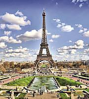 Фотообои флизелиновые 3D город Париж 225х250 см Эйфелева башня (MS-3-0025)