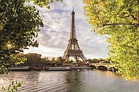 Фотообои флизелиновые 3D город Париж 375х250 см Эйфелева башня и река Сена  (MS-5-0028)