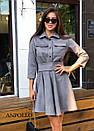 Замшевое платье с расклешенной юбкой и рубашечным верхом 17plt179, фото 3