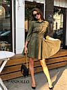 Замшевое платье с расклешенной юбкой и рубашечным верхом 17plt179, фото 4