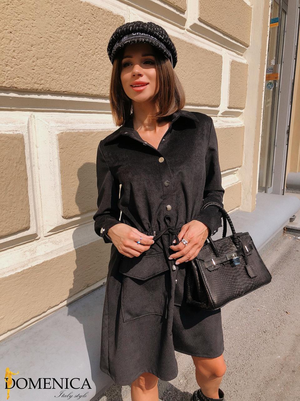Вельветовое платье - рубашка с длинным рукавом 31plt181