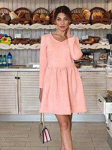 Замшевое платье с расклешенной юбкой и длинным рукавом 73plt185