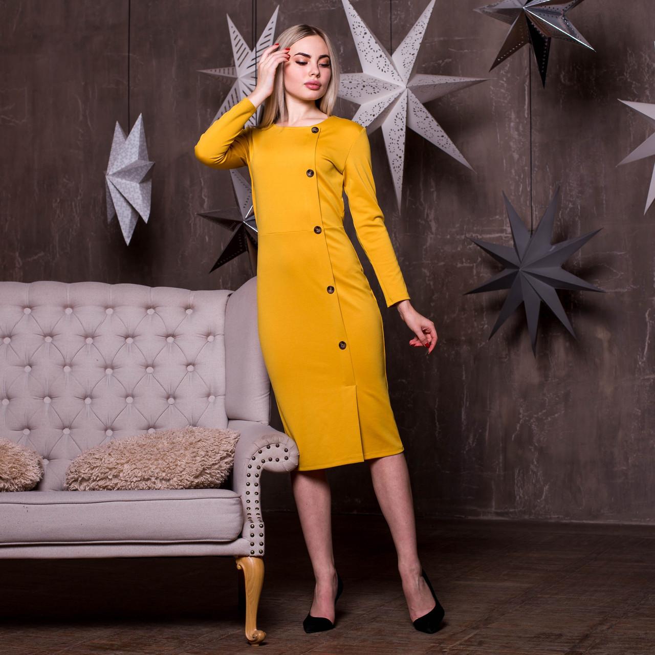 Платье - футляр с пуговицами сбоку и длинным рукавом 64plt190