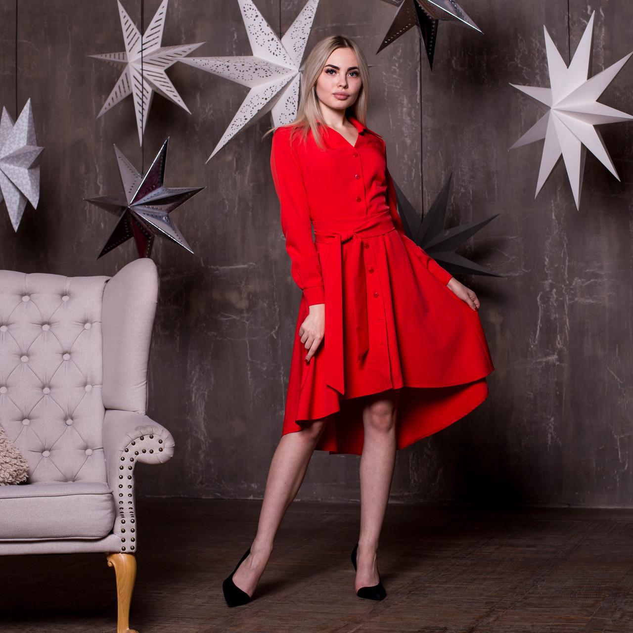 Платье - рубашка с асимметричной пышной юбкой и длинным рукавом 64plt191