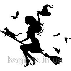 Виниловая наклейка - Девушка ведьма с котом (от 20х20 см)