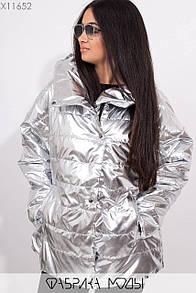 Женская демисезонная куртка большого размера на молнии и кнопках с капюшоном 1blr281
