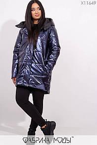 Металлизированная женская демисезонная куртка в больших размерах с капюшоном 1blr287