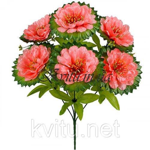 Искусственные цветы букет атласные хризантемы на резной подставке, 56см