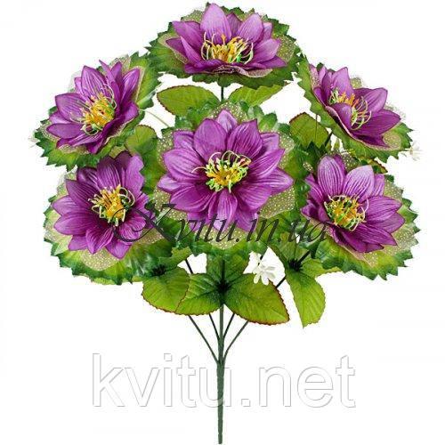 Искусственные цветы букет атласных лотосов с фатином, 57см