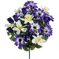 Букет орхидея с бутонами и крокусом, 59см