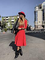 Стильное женское платье в горошек. 5 расцветок
