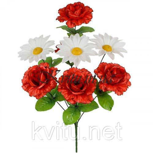 Букет роз с ромашкой, 49см
