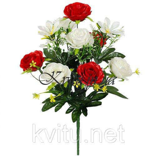 Букет искусственных роз атласных, 52см