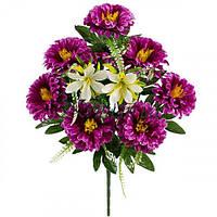 Искусственные цветы букет хризантем атласных , 50см