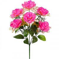 Букет искусственных роз с золотой органзой, 44см