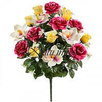 Букет искусственных орхидей, роз и бутонов, 58см