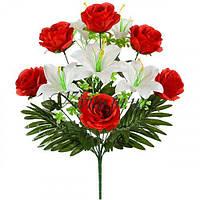 Букет искусственных лилий и роз, 57см
