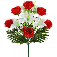 Искусственные цветы букет лилий и роз, 57см