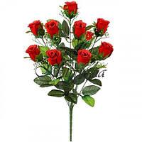 Искусственные цветы букет бархатные розы, 57см