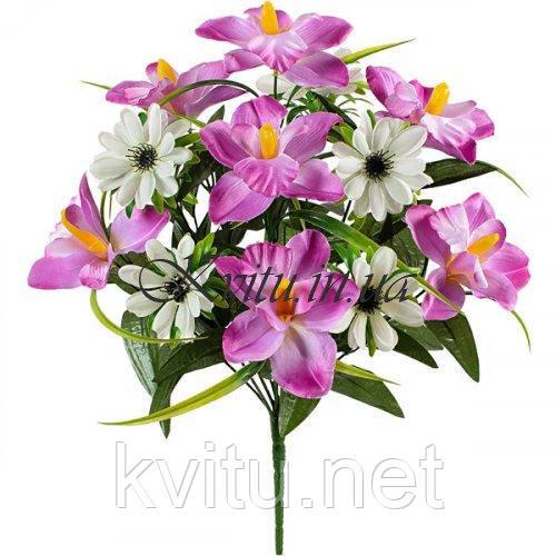 Букет искусственных орхидей и ноготков, 45см