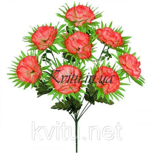 Искусственные цветы букет гвоздик на атласной подложке, 56см