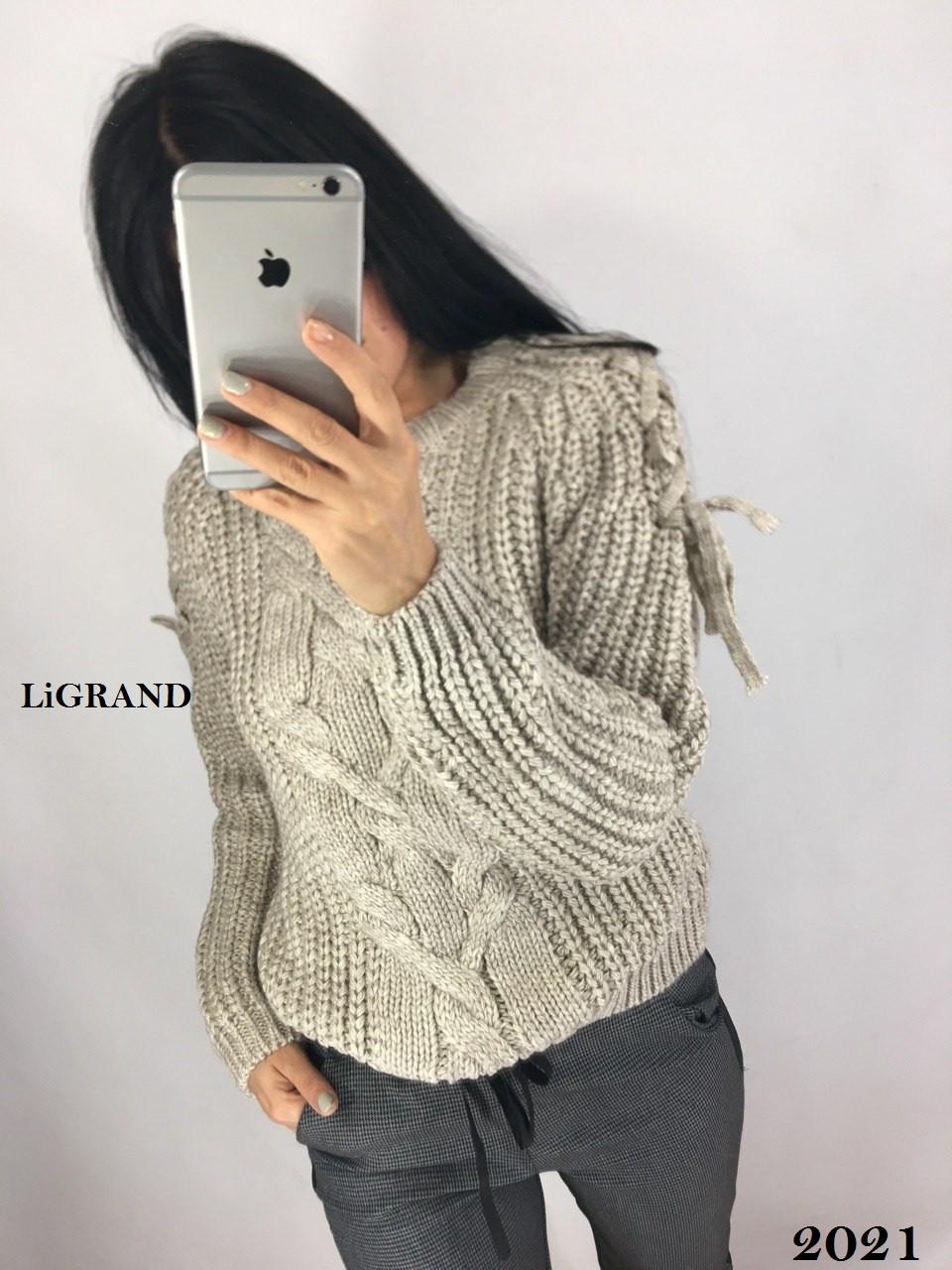 Женский вязаный свитер с шерстью с узором на рукаве 82dmde635, фото 1