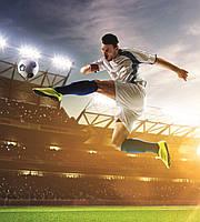 Фотообои флизелиновые 3D Футбол 225х250 см Футболист с мячом на стадионе  (MS-3-0306)