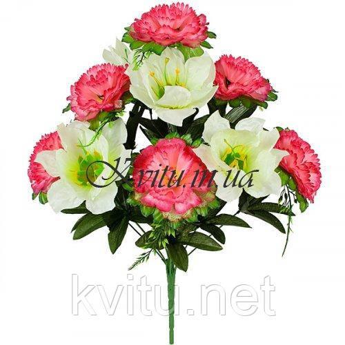 Искусственные цветы букет парчевый микс, 48см