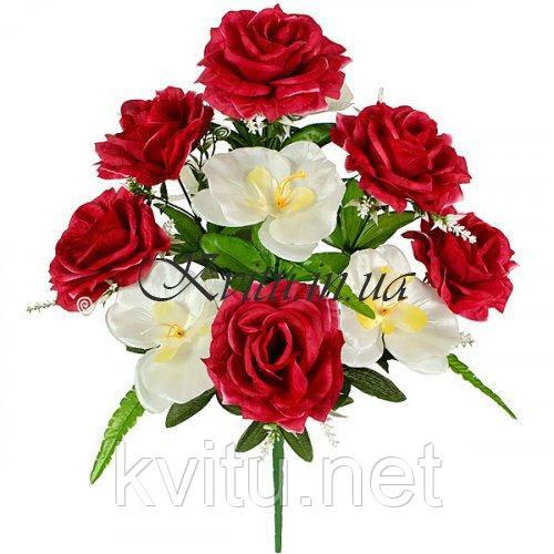Искусственные цветы букет  розы с орхидеями, 54см