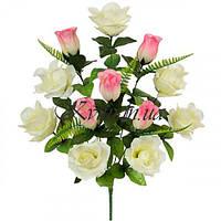 Искусственные цветы букет роз односторонний Вдохновение, 55см