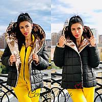 Женская двухсторонняя куртка одеяло с большим капюшоном и карманами 56mku145, фото 1