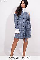 Двухфактурное платье в клетку в больших размерах с разрезами на плечах 1mbr259, фото 1