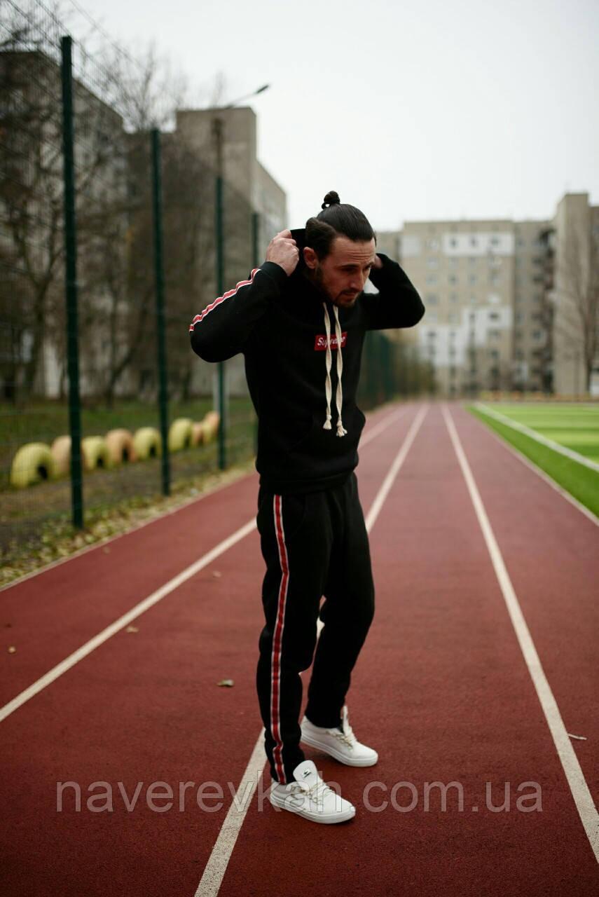 Мужской зимний теплый спортивный костюм с начесом черный красный серый 46-48 48-50 50-52