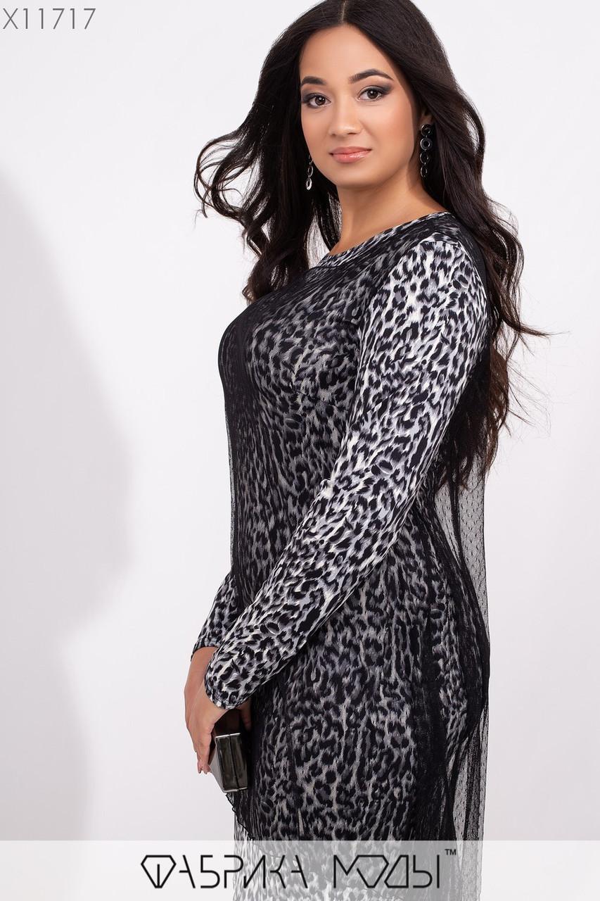 Принтованное стрейчевое платье в больших размерах с сеткой сверху 1mbr266, фото 1
