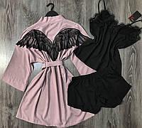 Хлопковый комплект Крылья ангела, халат и пижама с шортиками с кружевом, одежда для дома