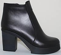 Зимние женские ботинки кожаные на каблуке от производителя модель СТБ16, фото 1