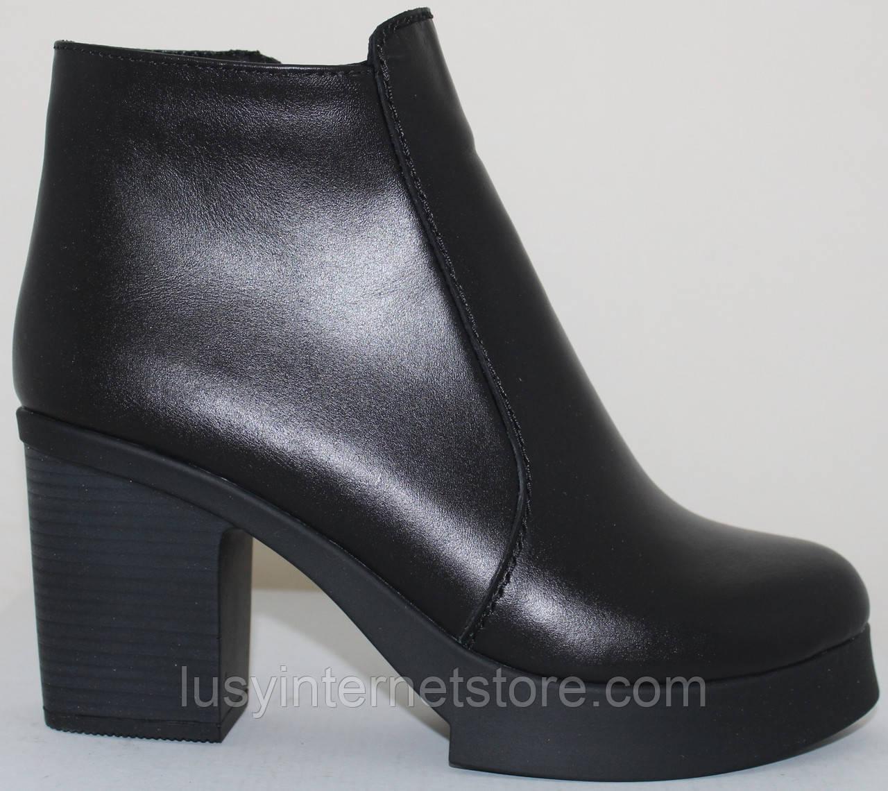 Зимние женские ботинки кожаные на каблуке от производителя модель СТБ16