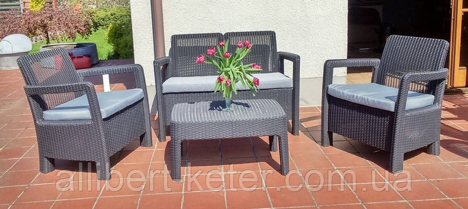 Набор садовой мебели Tarifa Set Graphite ( графит ) из искусственного ротанга ( Allibert by Keter )