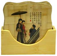 Подставки под чашки из бамбука 6 шт