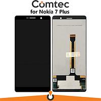 Дисплей для Nokia 7 Plus Dual Sim TA-1046/7 Plus TA-1055 с тачскрином (Модуль) черный, оригинал