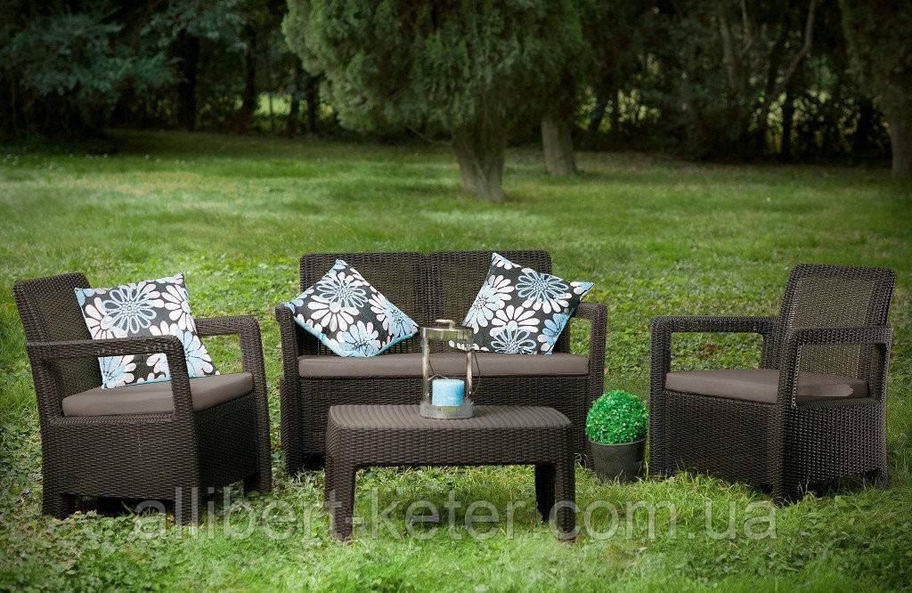 Набор садовой мебели Tarifa Set Brown ( коричневый ) из искусственного ротанга