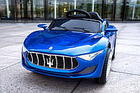 Детский электромобиль LB-8808, Maserati, EVA резина, Кожаное сиденье, дитячий електромобіль, синий лак