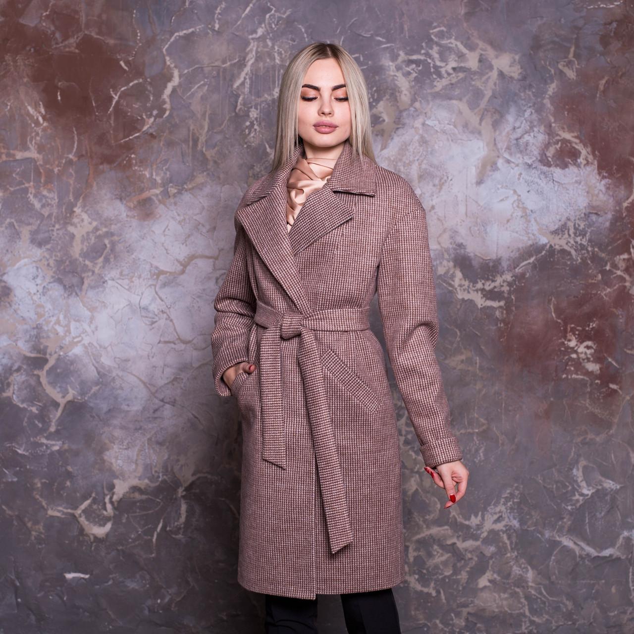 Женское классическое Женские пальто из полушерсти с отложным воротником и поясом 64mpa222, фото 1