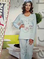 Трикотажная пижама для женщин Pink (4204) голубая. Р-р 52.