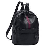 Детский черный рюкзак кожа ПУ
