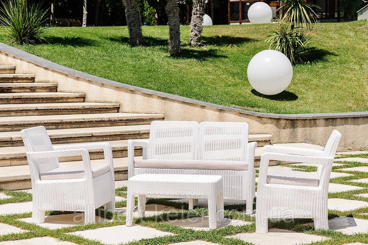 Набор садовой мебели Tarifa Set White ( белый ) из искусственного ротанга